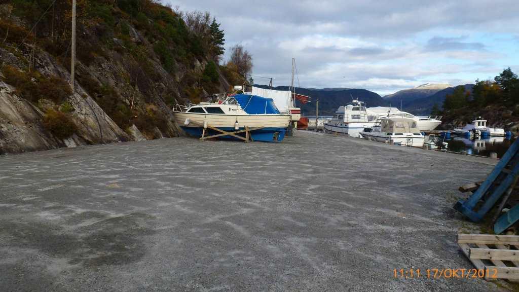 Opplagsplassen er gruset og klar for vinteropplag av båter
